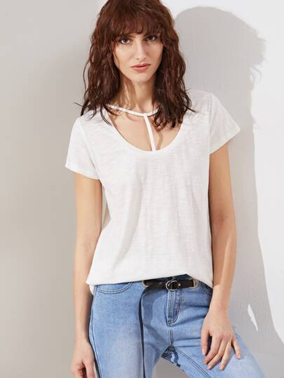 Weiß T Strap Scoop Neck Slub T-Shirt