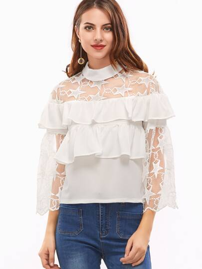 White Contrast Embroidered Lace Keyhole Back Ruffle Blouse
