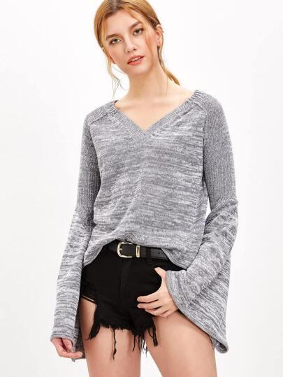 Pullover Dolmanärmel-grau