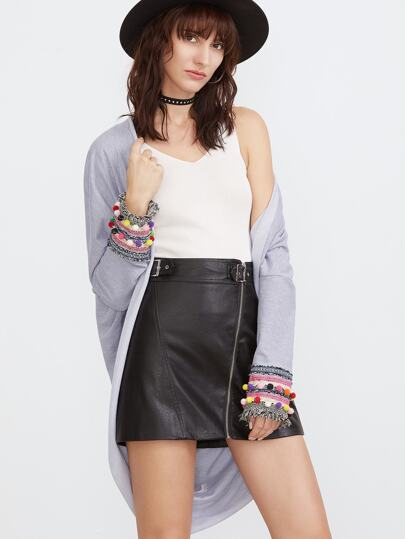 Heather Grey Pom Pom And Embroidered Tape Cuff Cocoon Kimono