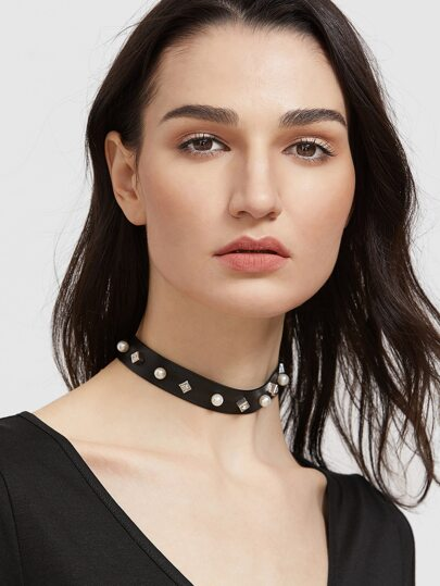 Black Faux Pearl Studded Leather Choker