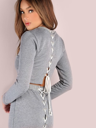 Cross Laced Back Cropped Heathered Pullover