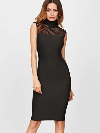 Black High Neck Fishnet Yoke Pencil Dress