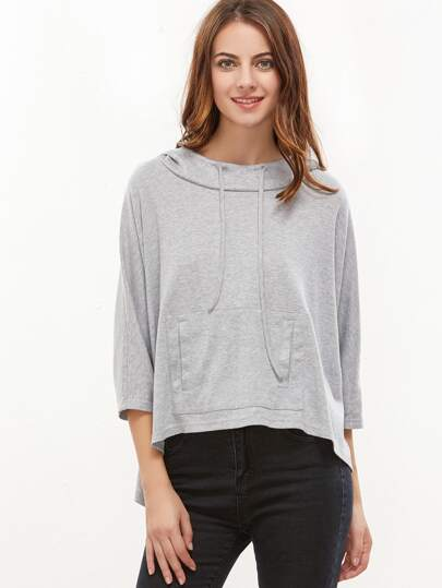 Dip Hem Pocket Front Hooded Sweatshirt