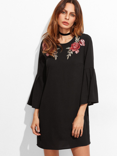 Black Embroidered Rose Applique Bell Sleeve Tunic Dress