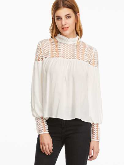 White Cowl Neck Embroidered Lace Shoulder And Cuff Top
