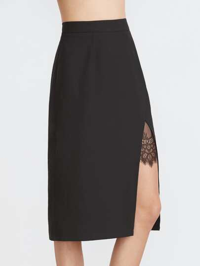 Black Lace Insert Split Front Midi Skirt