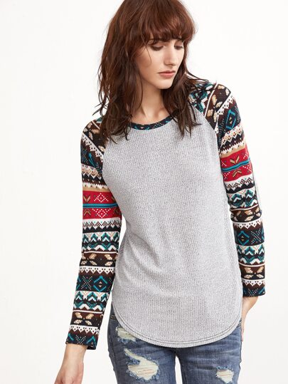 Multicolor Tribal Pattern Raglan Sleeve T-shirt With Elbow Patch