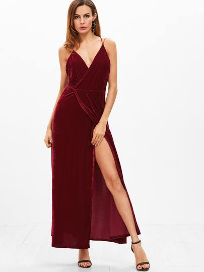 Burgundy Velvet Deep V Neck Backless Wrap Slip Dress