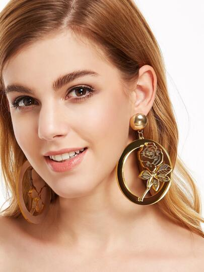 Floral Hollow Out Circle Acylic Earrings