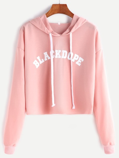 Hooded Letter Print Raw Hem Dropped Shoulders Crop Sweatshirt