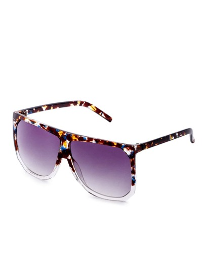 Tortoise Shell Frame Purple Lens Square Sunglasses