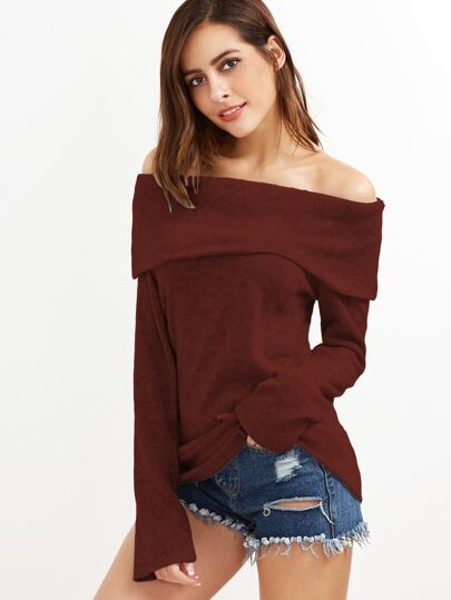 Burgundy Off The Shoulder Foldover Knit T-shirt