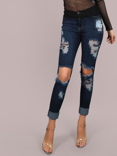 High Waisted Cut Out Skinny Jeans DARK DENIM