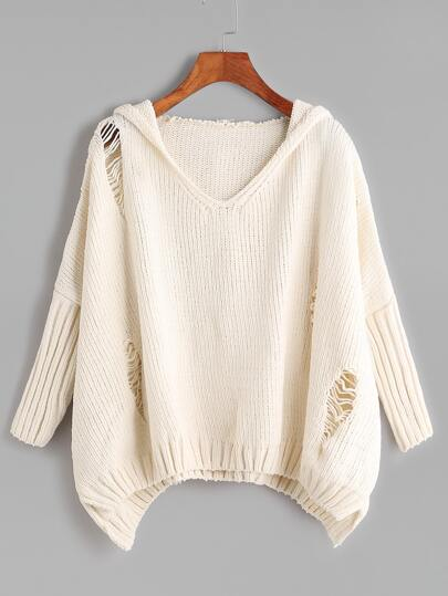 Beige Ripped High Low Hooded Sweater