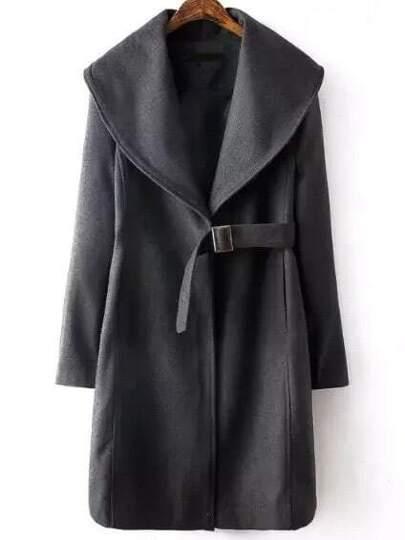 Mantel mit Schleife Vorne Schal Kragen-grau