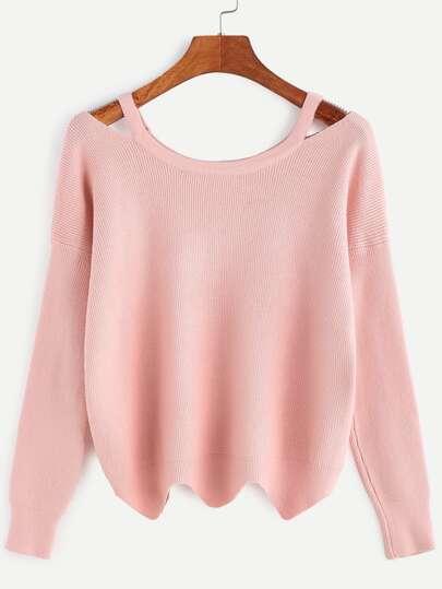 Pink Cut Out Neck Wave Hem Sweater