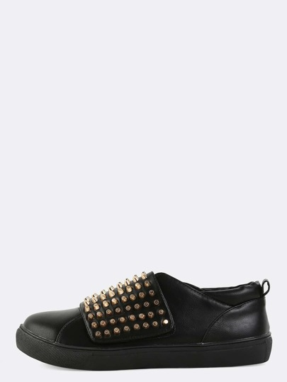 Round Toe Velcro Strap Sneakers BLACK