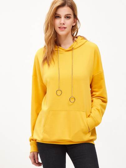 Yellow Drop Shoulder Pocket Front Chain Drawstring Hoodie