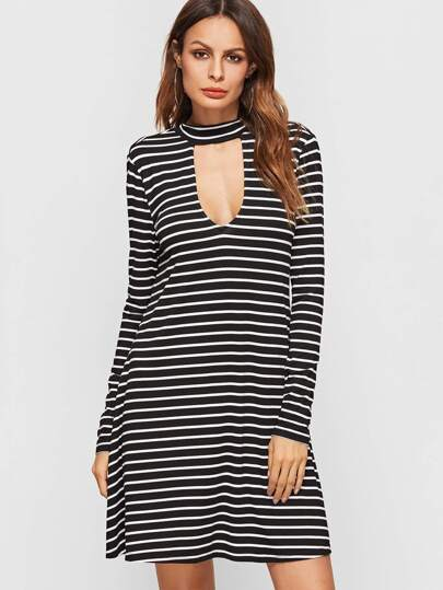 Black And White Striped Double Keyhole A Line Tee Dress