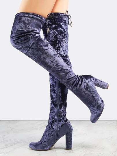 Almond Toe Chunky Heel Velvet Boots DUSTY BLUE