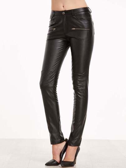 Pantalones ajustados de cuero sintético - negro