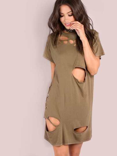 Distressed Pocket Shirt Dress MOCHA