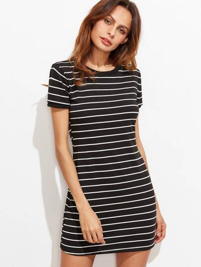 Black Striped Short Sleeve Tee Dress