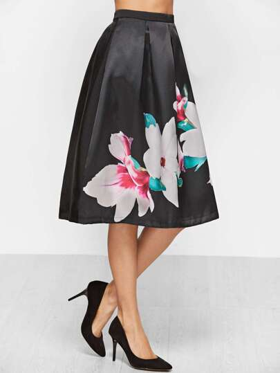 Black Flower Print Zipper Back Flare Skirt