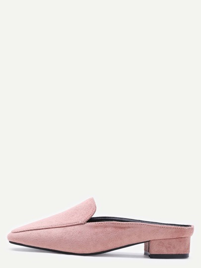 Pink Suede Square Toe Block Heel Loafers