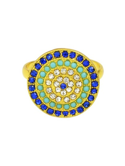 Gold Color Rhinestone Adjustable Circle Rings