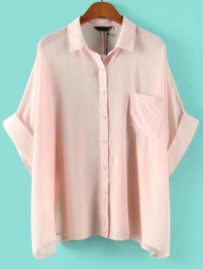 Blusa con bolsillo - rosa
