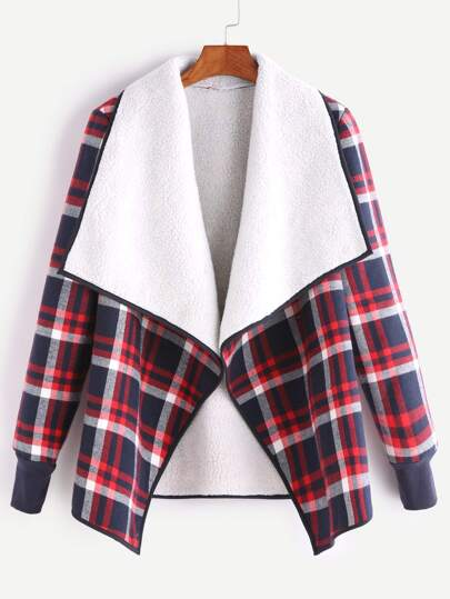 Plaid Fleece Lined Contrast Drape Collar Binding Jacket