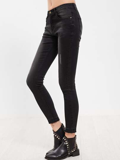 Black Bleached Wash Raw Hem Skinny Jeans