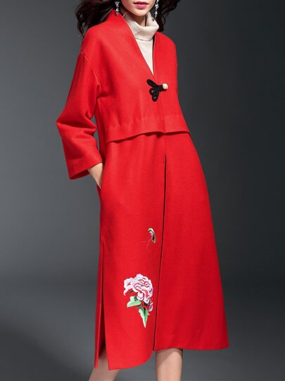 Red V Neck Embroidered Pockets Split Coat