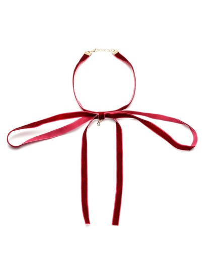 Bourgogne Cravate Neck Velvet Bowknot Choker Collier