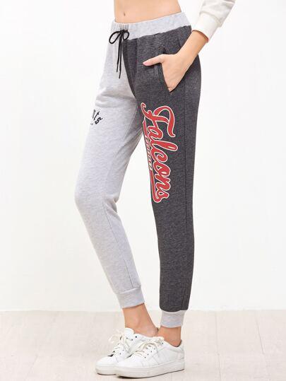 Pantalones deportivos con estampado de letras y cordón