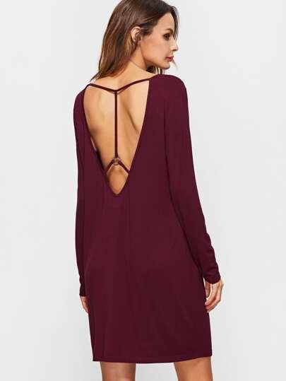Бордовое платье-джемпер с низким вырезом ворота с открытой спиной