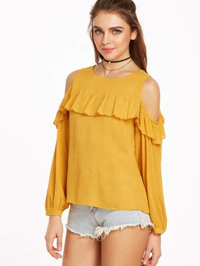 Cold Shoulder Ruffle Trim Buttoned Cuff Crinkle Top
