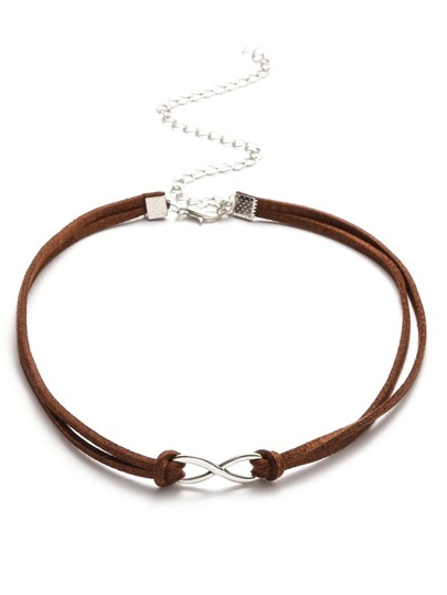 Coffee Double Layer Metal Charm Suede Choker