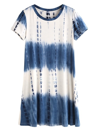 Navy Tie Dye Print Short Sleeve Tee Dress