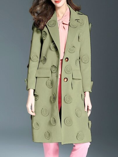 Grüne Revers Blumen Applique Pockets Mantel
