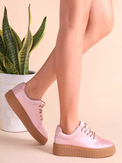 Pink Satin Fabric Rubber Sole Low Top Sneakers