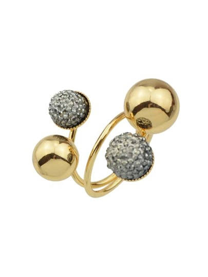 Gold Color Metal Ball Statement Rings