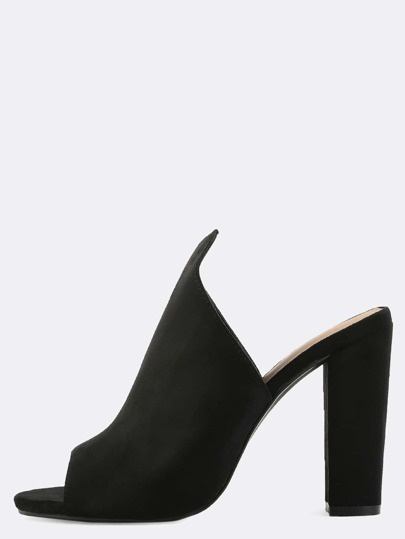 Pointed Top Mule Heels BLACK