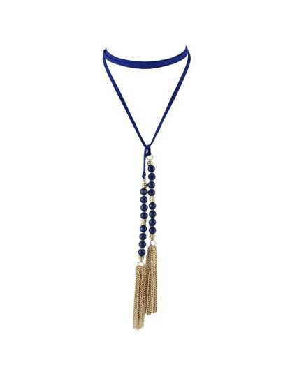 Blue Color Beads Tassel Long Suede Chain Necklaces