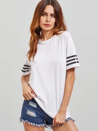 T-shirt à l'épaule laissé à rayure à manche court -blanc