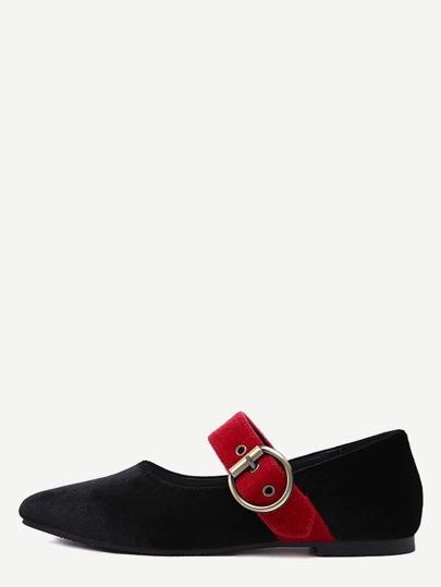 Noir Buckled Strap Velvet Ballet Shoes