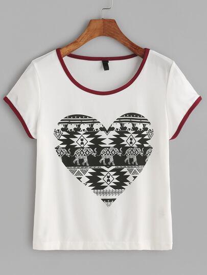 Weiß Kontrast-Ordnungs-Weinlese-Druck-T-Shirt