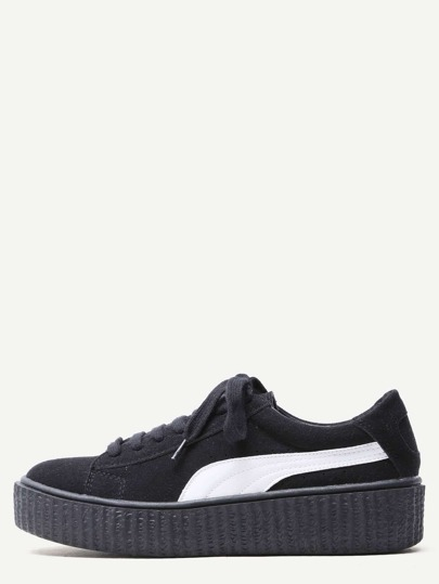Black Suede Leather Lace Up Rubber Sole Sneakers